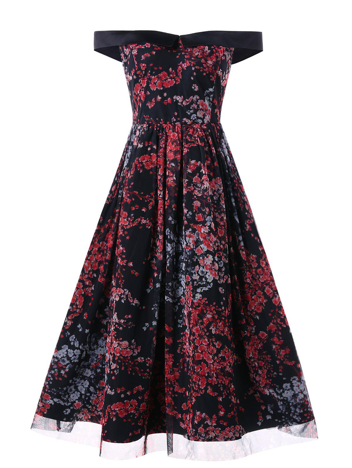 Trendy Mesh Insert Floral Print Vintage Dress
