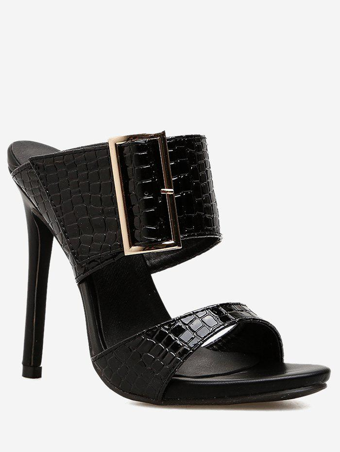 Unique Chic Metal Buckled High Heel Sandals