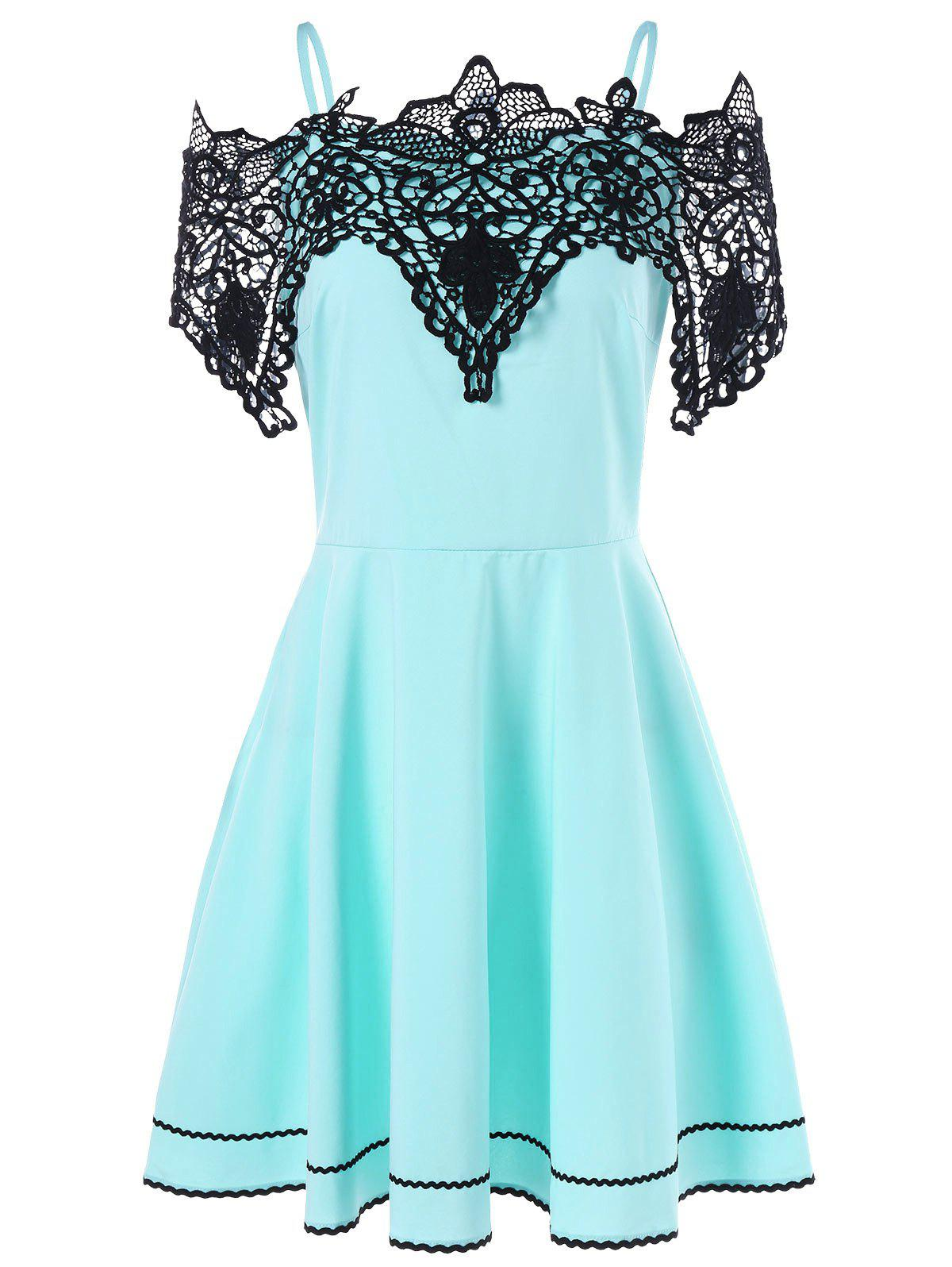 Shops Cold Shoulder Lace Panel Skater Dress