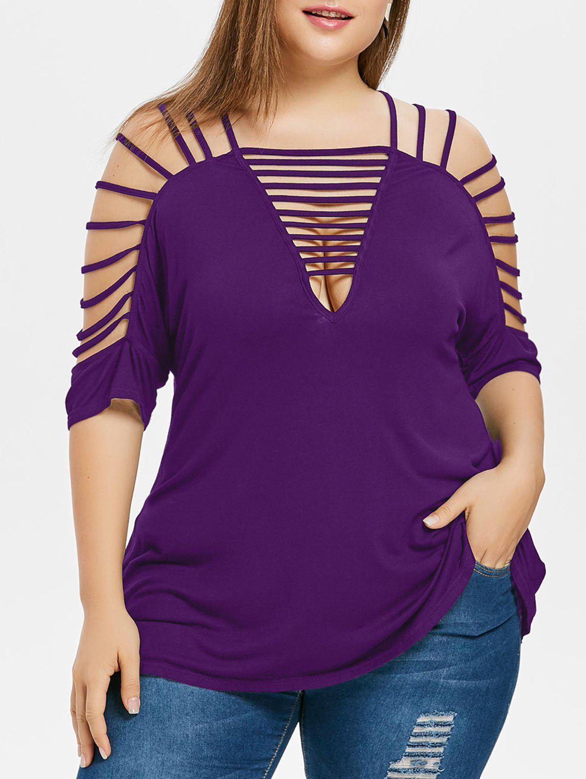 Sale Plus Size Plunging Neck Ladder Cut T-shirt