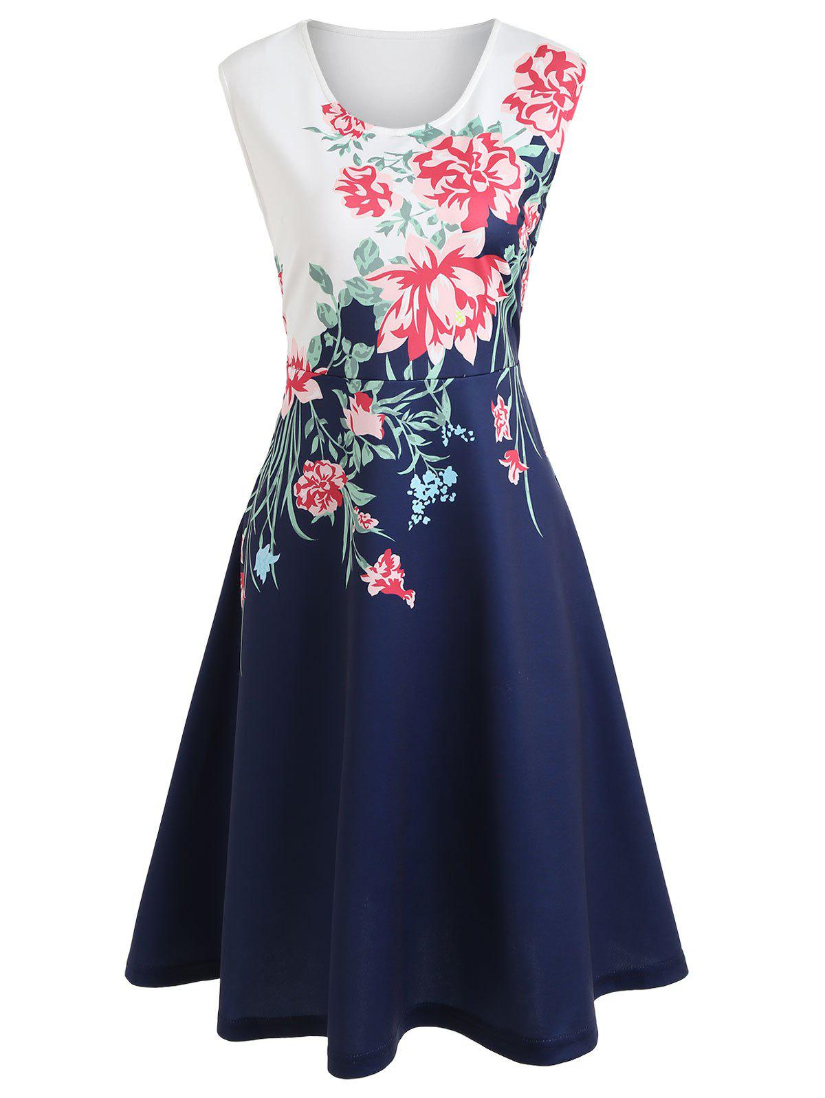 Best Floral Print Sleeveless Midi Dress