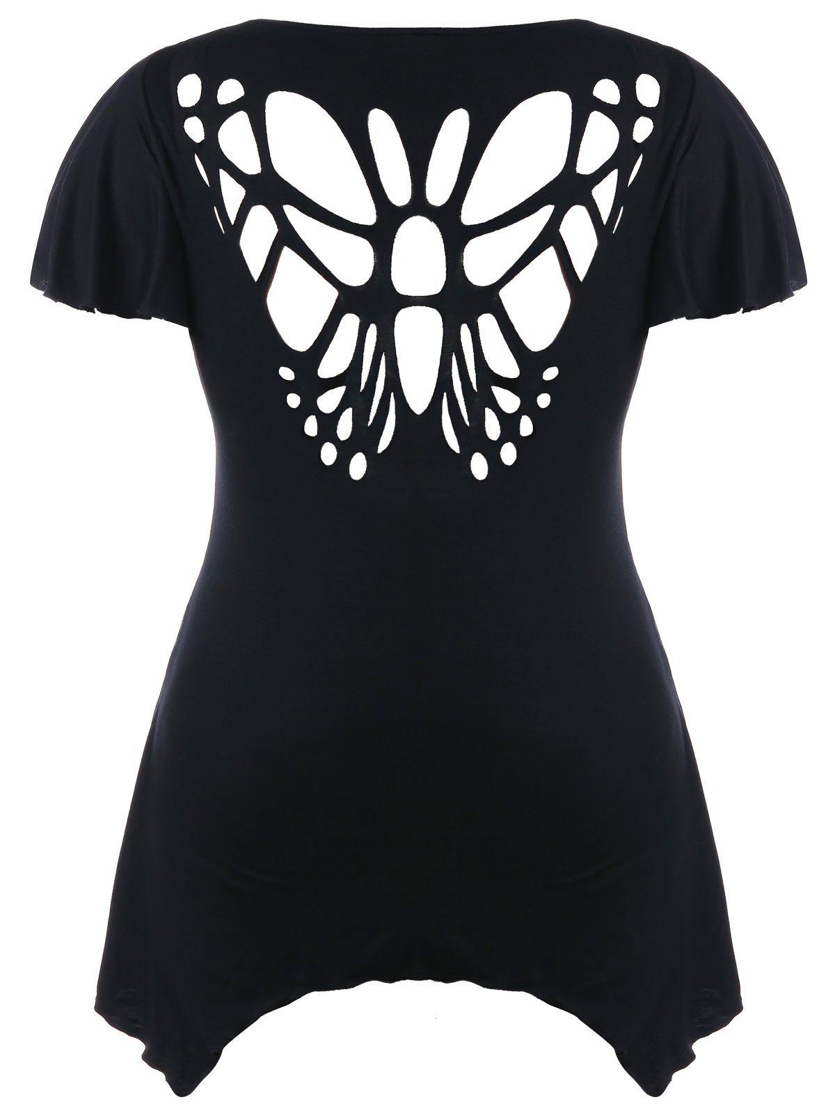 Latest Plus Size Cut Out Butterfly T-shirt