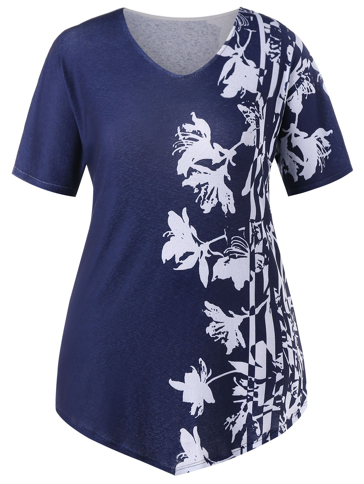 Cheap Plus Size V Neck Floral T-shirt