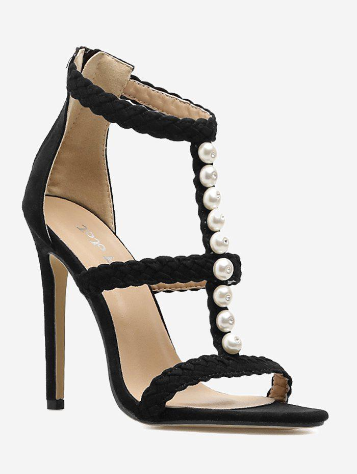 Unique Pearl Decorate Stiletto Heel Sandals