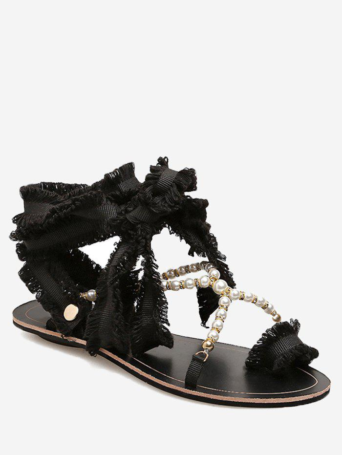 Shop Frayed Edge Faux Pearls Crisscross Flat Heel Sandals