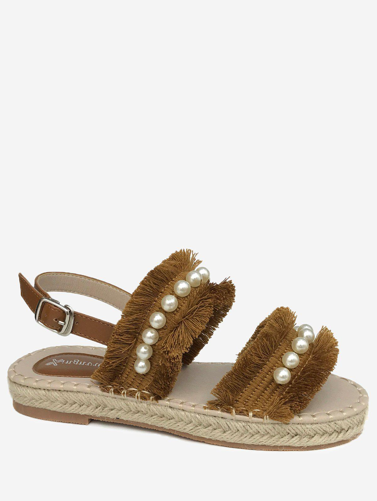 Sale Casual Vacation Frayed Edge Faux Pearls Buckled Sandals