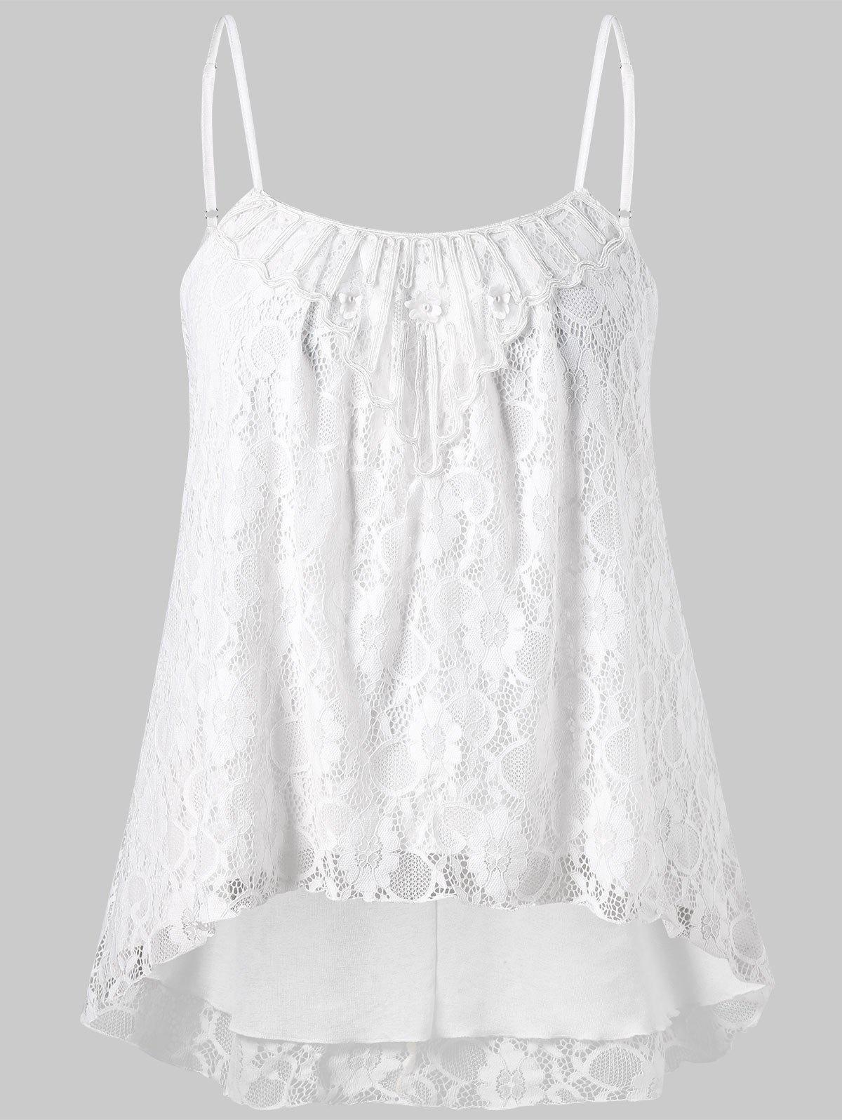 Hot Plus Size Lace High Low Slip Tank Top