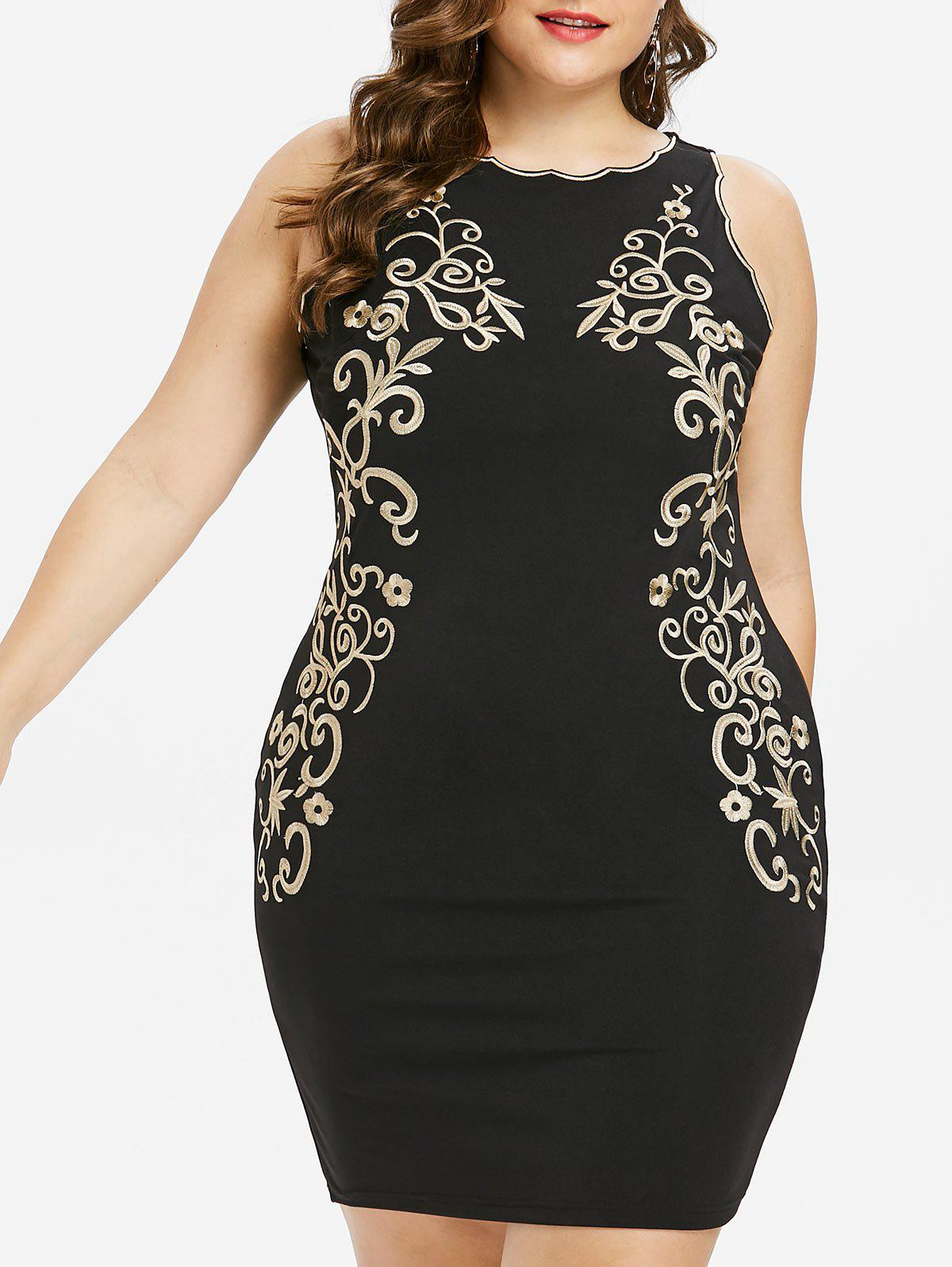 New Plus Size Embroidered Sleeveless Bodycon Dress