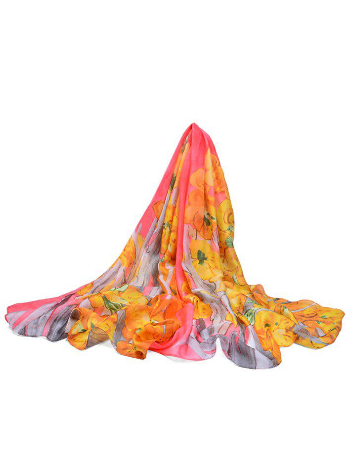 Cheap Lightweight Floral Printed Silky Fall Spring Scarf