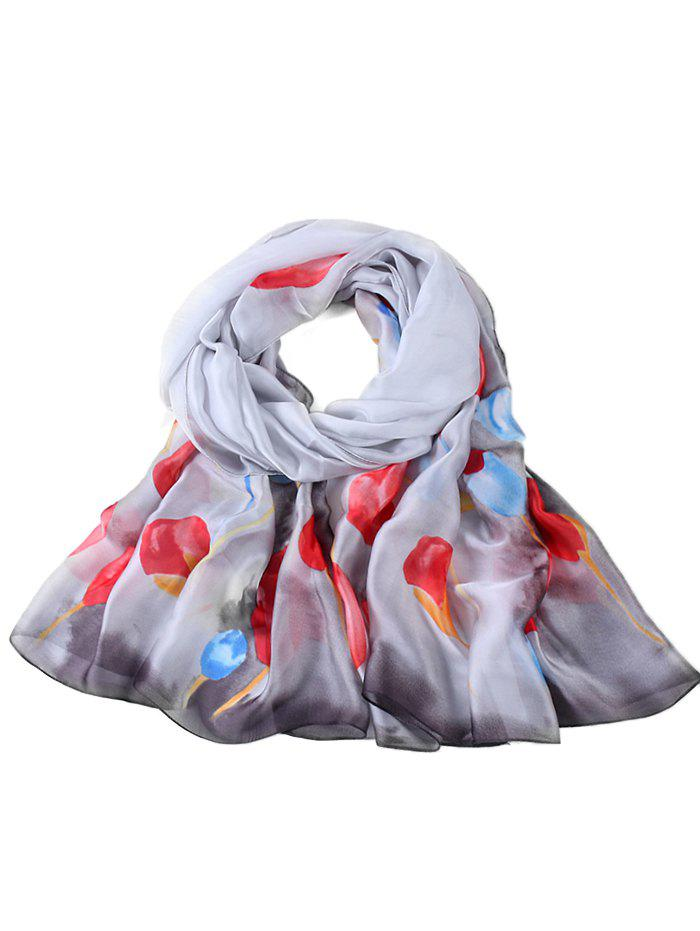 Hot Soft Floral Pattern Embellished Long Scarf