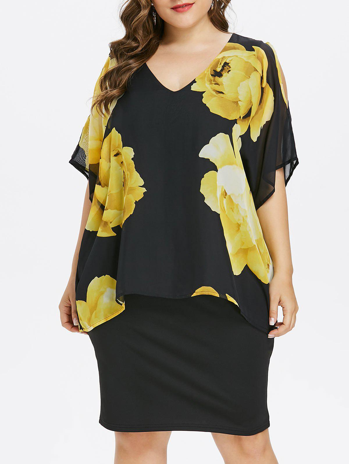 Shop Plus Size Cold Shoulder Floral Overlay Dress