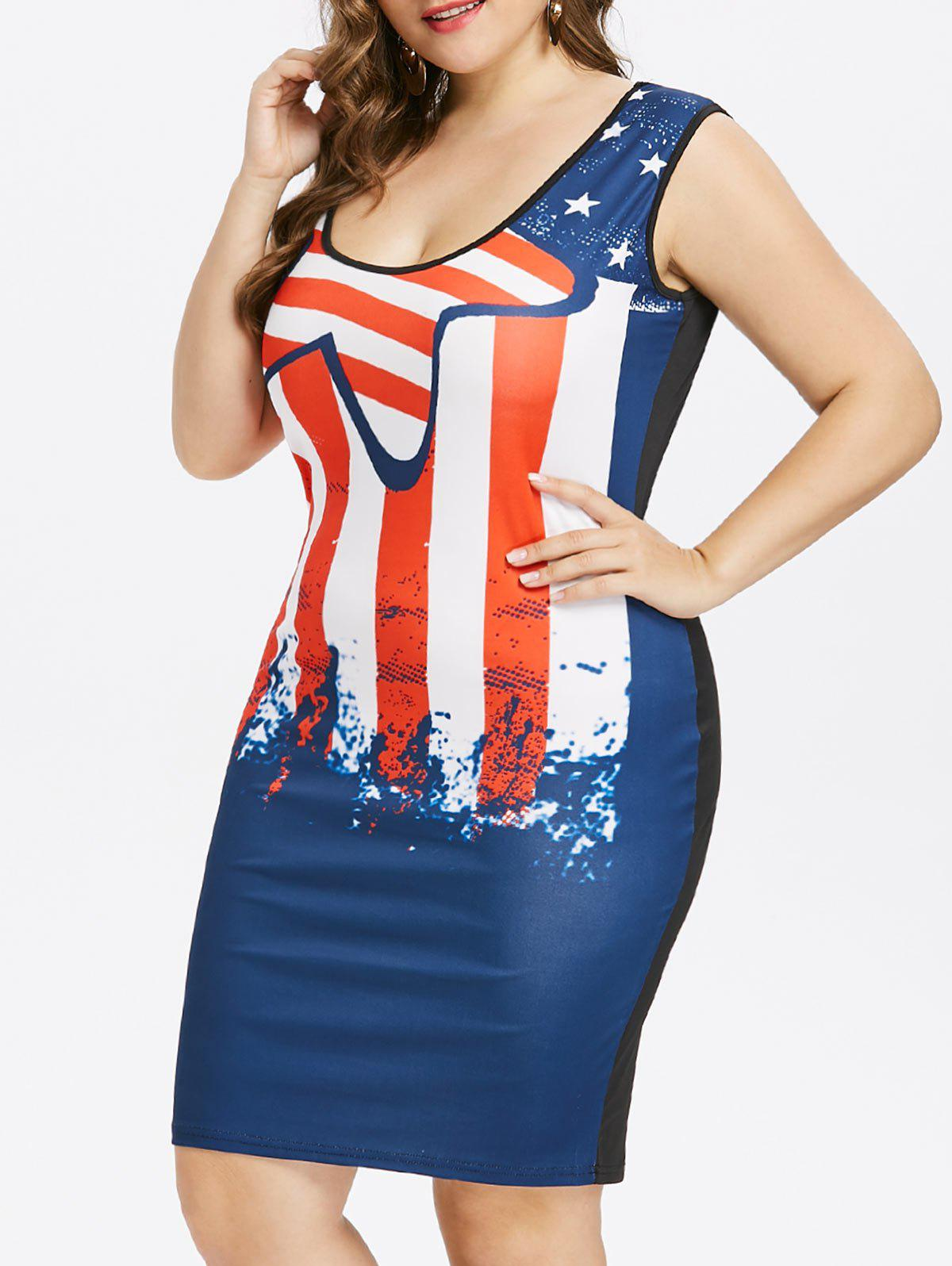 Affordable Plus Size Stars and Stripes Sleeveless Dress