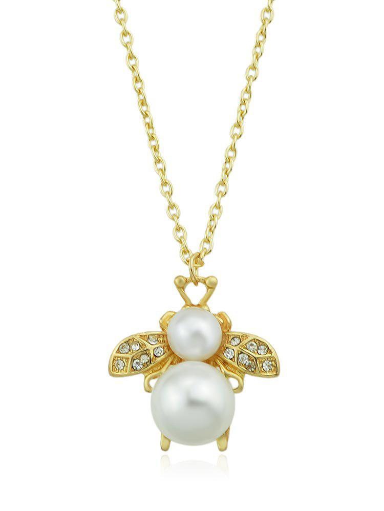 Buy Bee Shaped Rhinestone Faux Pearl Pendant Necklace