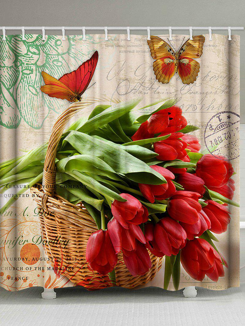 Discount Flowers and Butterfly Print Waterproof Bathroom Shower Curtain
