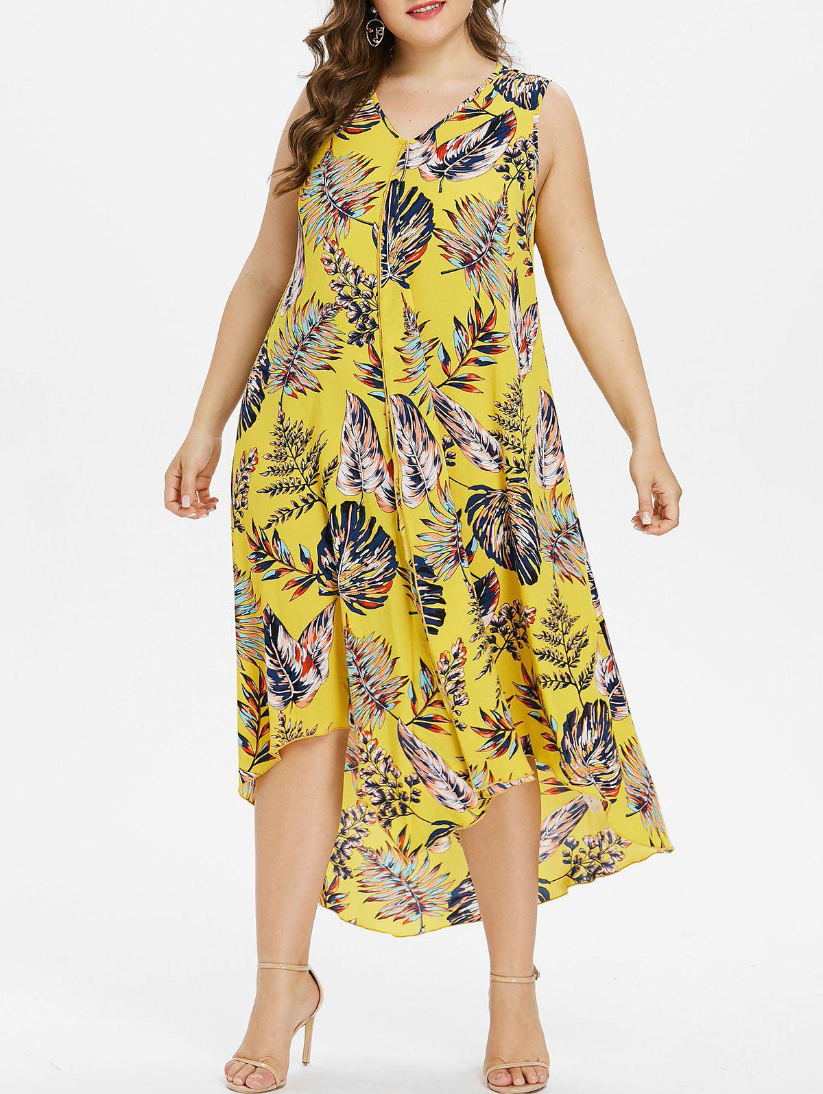 Cheap Plus Size Hawaiian V Neck High Low Dress