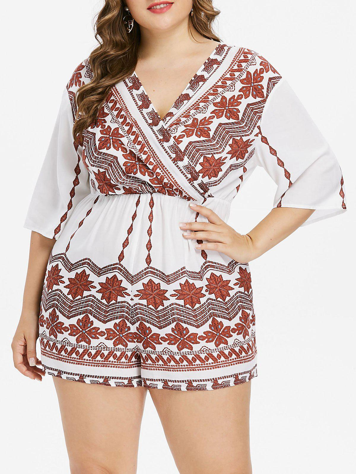Unique Plus Size Bohemian Tribal Print Surplice Romper