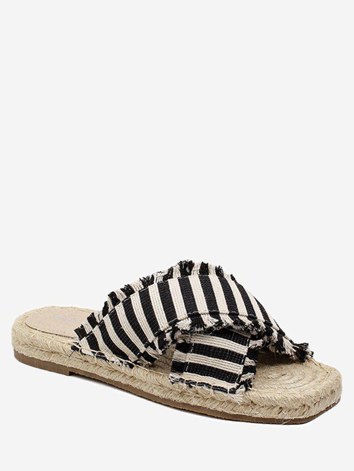 Outfit Straw Striped Leisure Flat Slippers