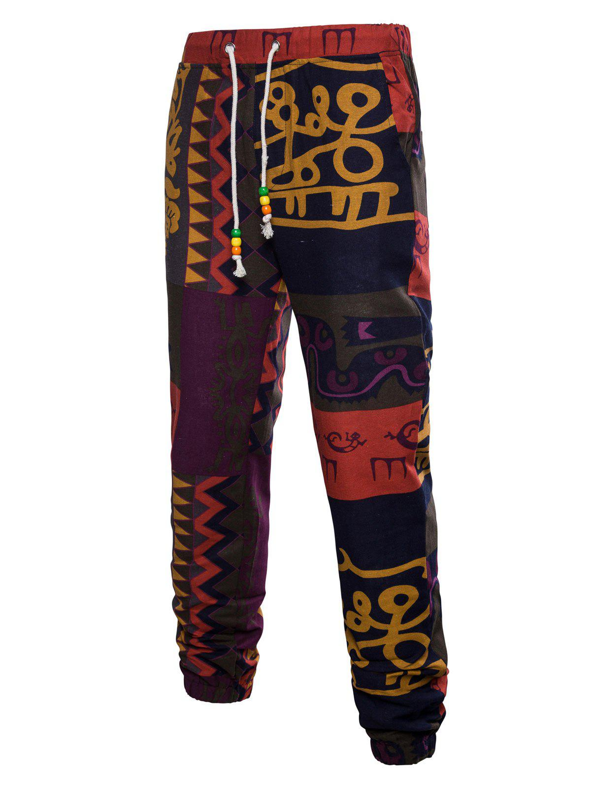 Online Drawstring Wall Gecko Print Ethnic Jogger Pants