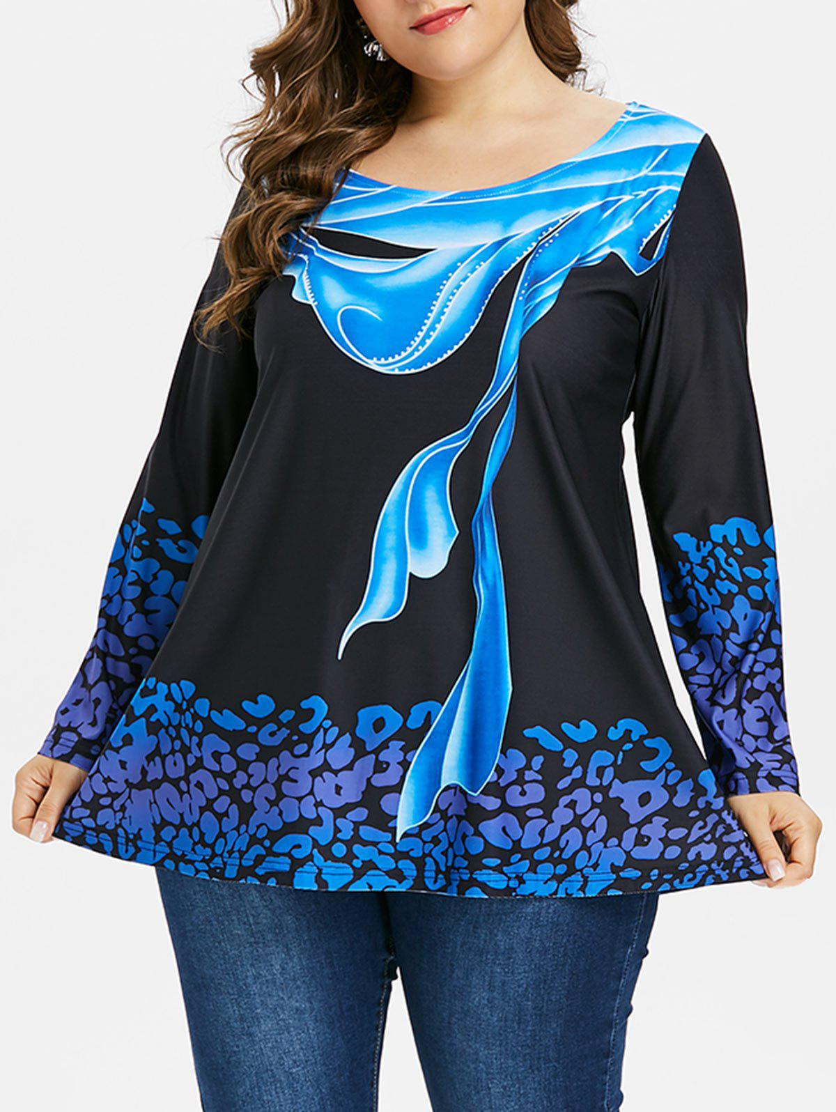 Online Plus Size Abstract Print Long Sleeve T-shirt