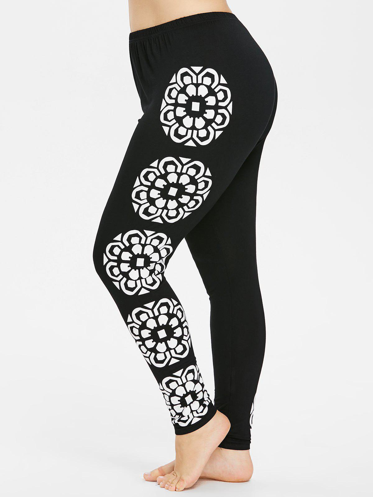 Affordable Plus Size Floral Sides Leggings