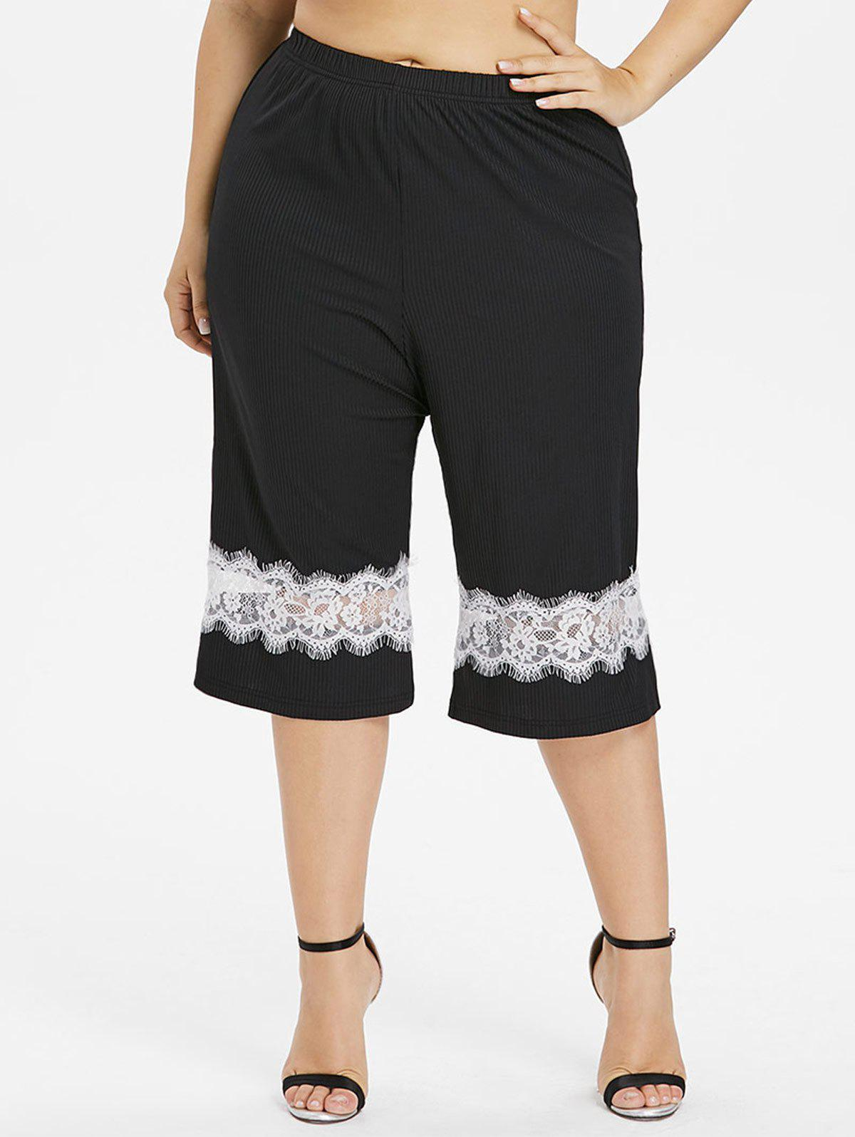 Shop Plus Size Eyelash Lace Insert Capri Pants