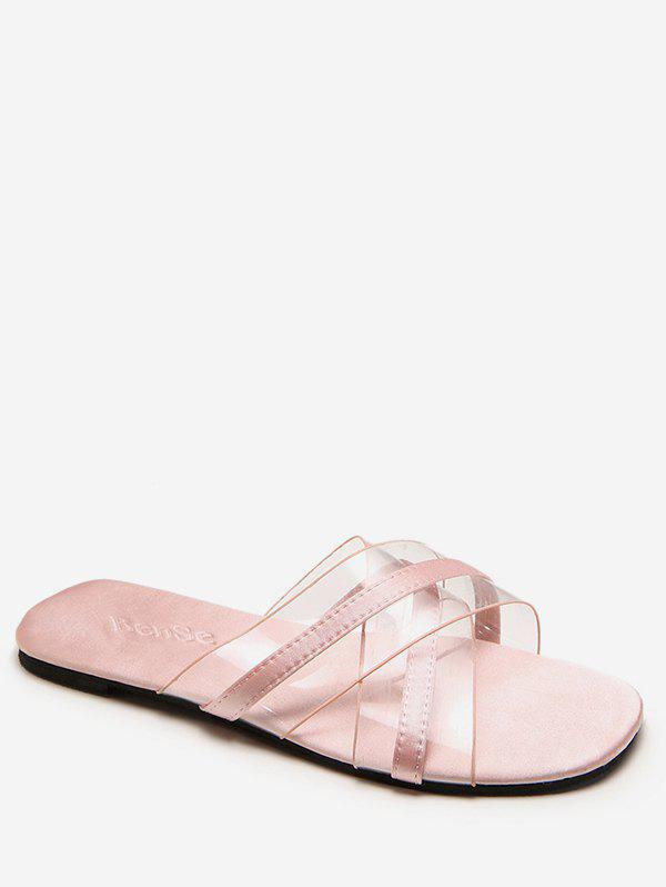 Fashion Flat Heel Crisscross Transparent Slides