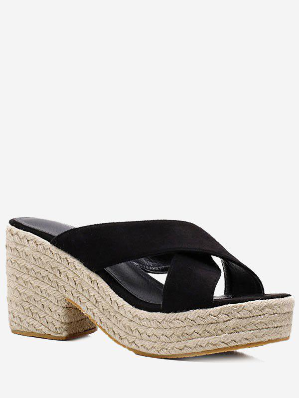 Best Crisscross Slip On Platform Espadrille Sandals