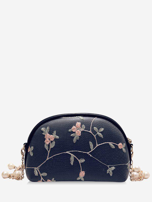Buy Embroidery Semicircle Shaped Faux Pearls Decorated Crossbody Bag