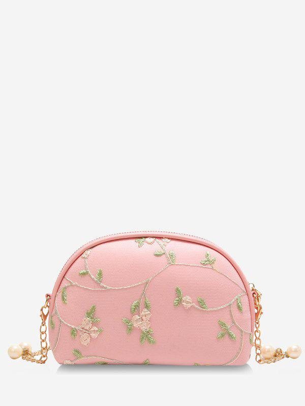 Fashion Embroidery Semicircle Shaped Faux Pearls Decorated Crossbody Bag