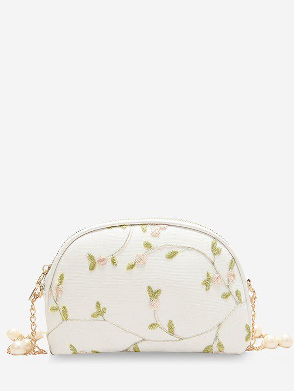 New Embroidery Semicircle Shaped Faux Pearls Decorated Crossbody Bag