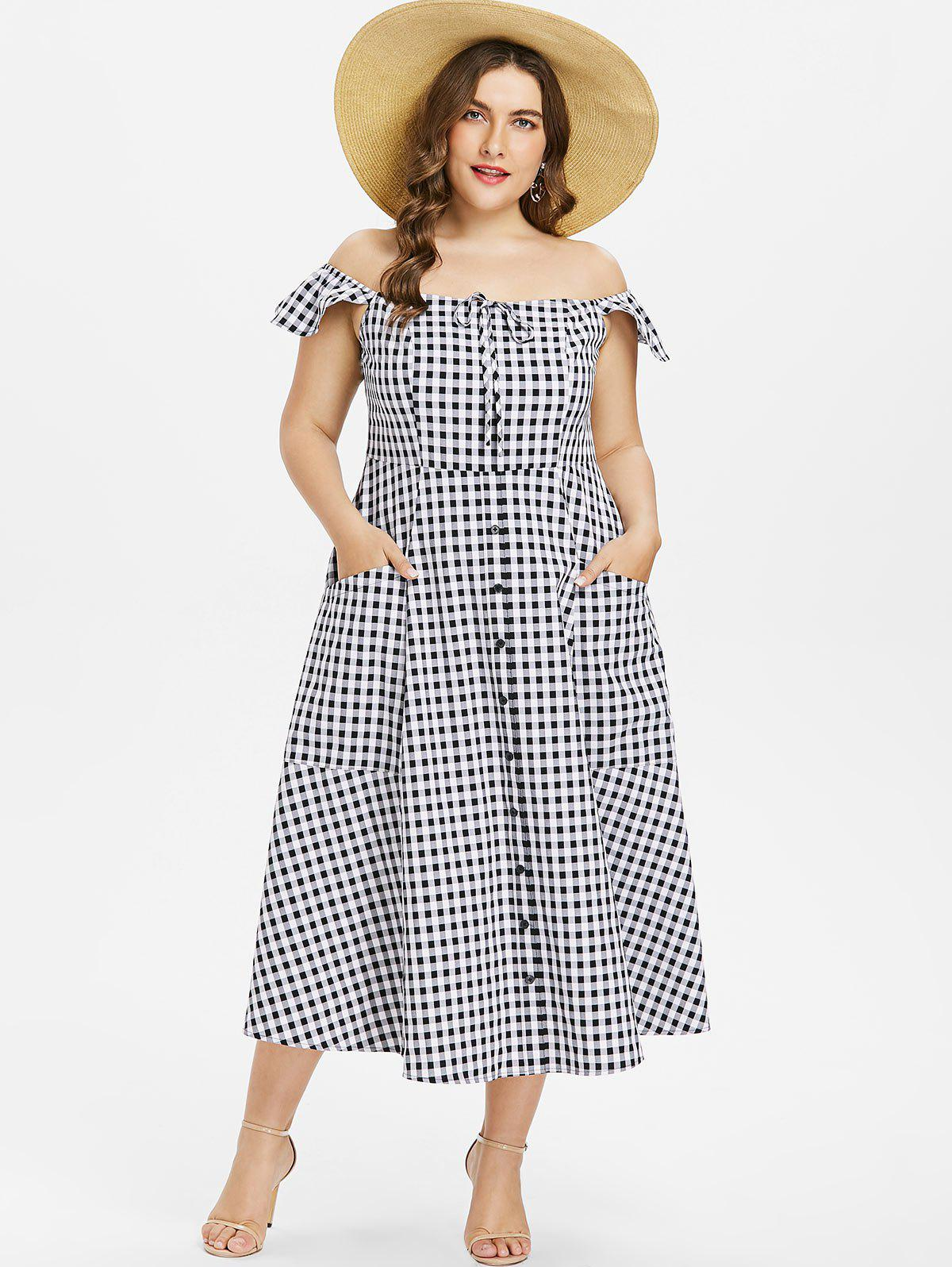 Shop Plus Size Gingham A Line Dress