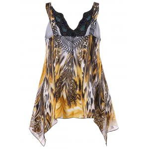 Plus Size Embroidery V Neck Leopard Tank Top -