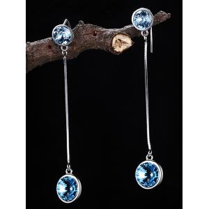 Faux Gem Inlaid Link Dangle Drop Earrings -