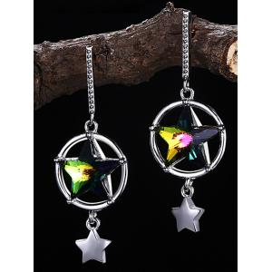 Elegant Hollow Out Crystal Star Decorative Drop Earrings -