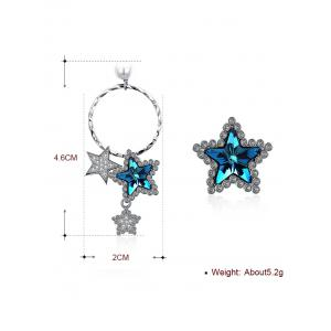 Unique Asymmetrical Rhinestone Inlaid Star Drop Stud Earrings -