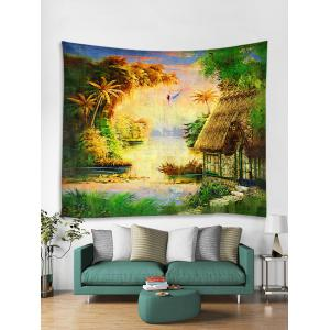 Wall Hanging Art Forest Thatching Print Tapestry -
