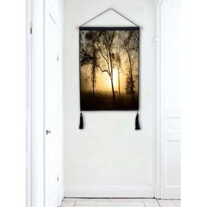 Trees Sunset Wall Rolling Tassel Hanging Painting -