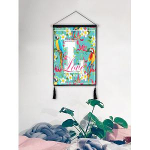 Parrot Letter Print Wall Rolling Tassel Hanging Painting -