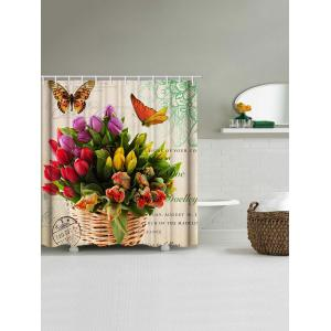 Butterfly and Flowers Print Waterproof Bathroom Shower Curtain -