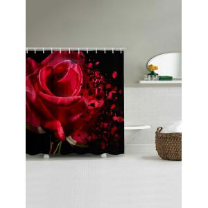 Rose Wither Print Waterproof Bathroom Shower Curtain -