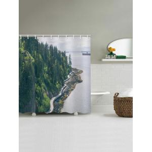 Waterproof Forest on the Sea Side Printed Bath Curtain -