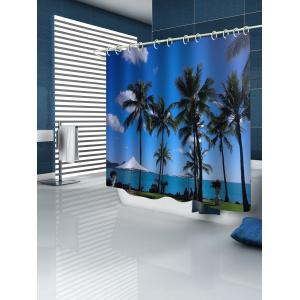 Coconut Palms Seaside Scenery Printed Waterproof Bath Curtain -
