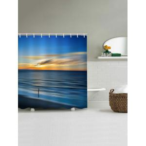 Morning Peaceful Sea Level Beach Scenery Printed Waterproof Bath Curtain -