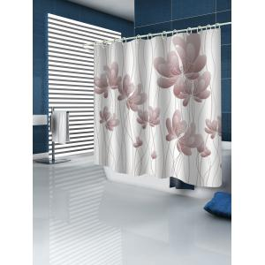 Butterfly Flowers Print Waterproof Bathroom Shower Curtain -