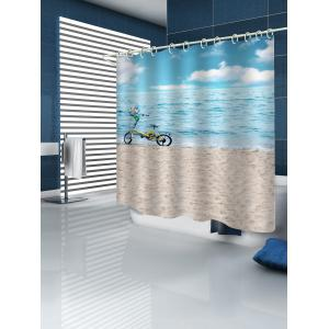 Sea-side Beach Bicycle Printed Waterproof Bath Curtain -