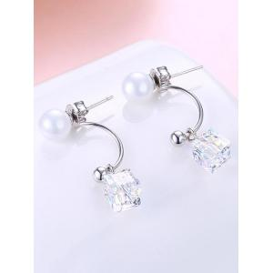 Unique Faux Pearl Square Party Wedding Gift Earrings -