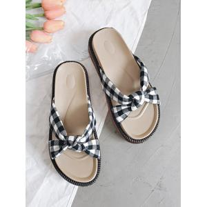 Leisure Crisscross Knot Plaid Slide Sandals -