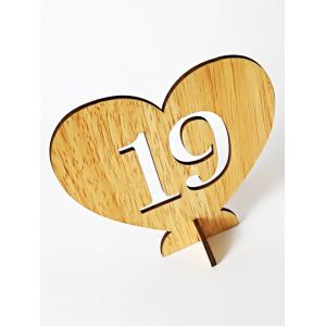 Number 1 to 20 Sign Wooden Heart Wedding Decor Set -