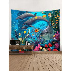 3D Dolphin Sea World Print Wall Tapestry -