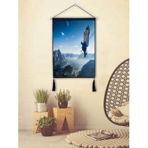 Sky Flying Eagle Print Wall Tassel Hanging Painting -